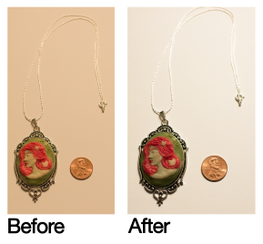 Color correction for a photo of a product from my former Etsy shop.